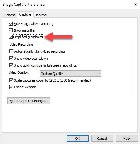 Snagit (Windows): Crashes or the crosshairs are sluggish