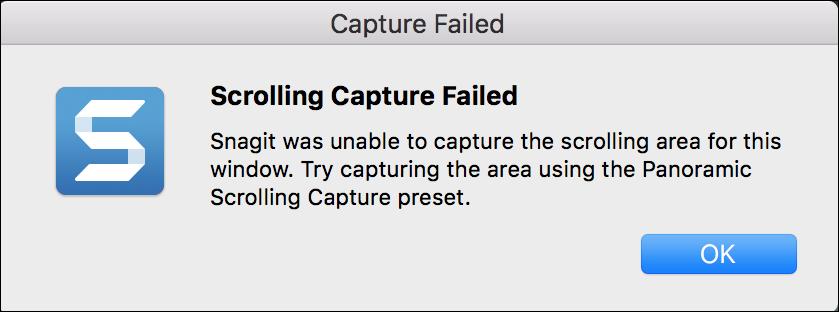 Snagit (Mac): Scrolling Capture Failed – TechSmith Support