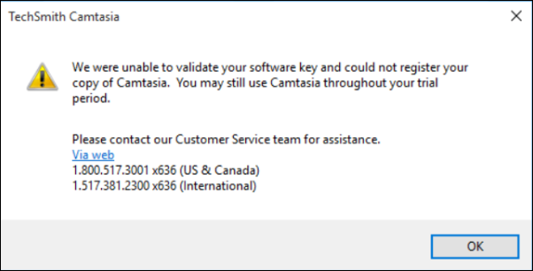 Camtasia (Windows): Activation server is unable to register your