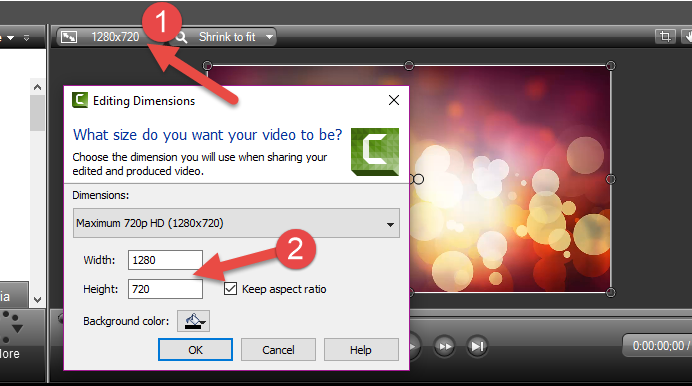 how to change size of video in camtasia 9