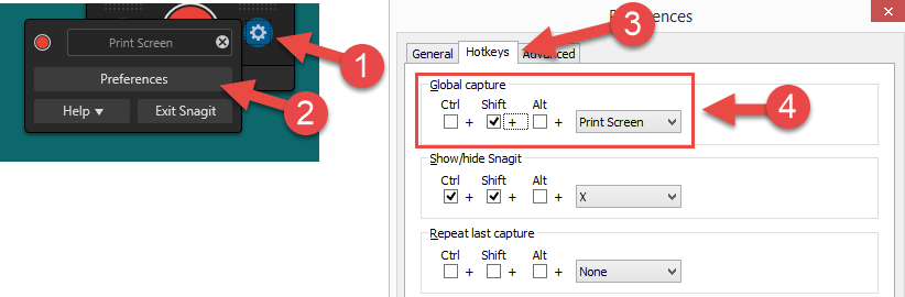 Snagit windows capture directly to image using print for Image capture