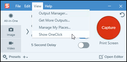 Snagit (Windows): Turn OneClick On or Off – TechSmith Support