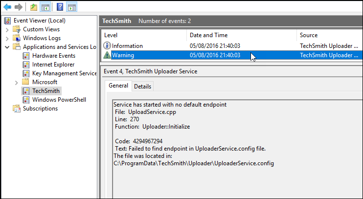Snagit (Windows): TechSmith Uploader Service – TechSmith Support